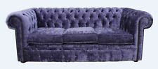 Chesterfield Original 3 Seater Settee Couch Modena Lilac Velvet Sofa Uk Handmade