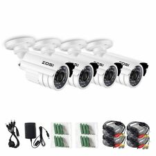 ZOSI 4PK 800TVL 960H HD 24 IR Leds Outdoor 3.6mm Day Night CCTV Security Camera