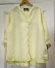 MAGGIE T Size 22 Top Lemon Linen Cotton Embroidered Detail Stunning