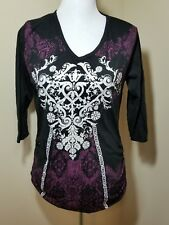 Large Paradisio Maternity Long Sleeve Tshirt Black with White/Purple/Silver
