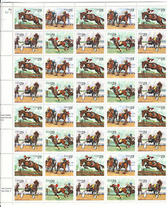 Scott #2756/9...29 Cent....Sporting Horses ...Sheet With 40 Stamps