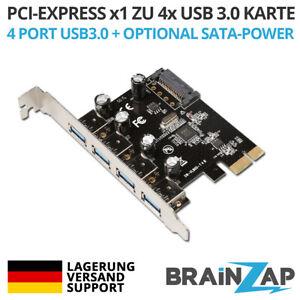PCI-Express 3.0 x1 4-Port USB 3.0 Adapter Karte Erweiterungskarte PCI-E PCIe PC