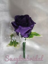 Rose buttonholes wedding corsage ivory gold red purple groom guests single white