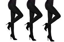Black 60 den Hosiery Opaque Plain Tights Women Microfiber 3packs by Aurellie