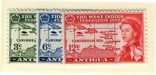 ANTIGUA 1958 CARIBBEAN FEDERATION BLOCKS OF 4 MNH