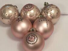 Natale 6 decorato a mano Blush Rosa 6 cm NINNOLI GRIGIO E ROSA DIAMANTATO