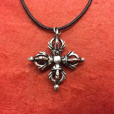 Crossed Vajra Double Dorje Tibetan Buddhist Ritual Item Tibetan Silver Pendant
