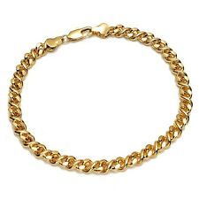 "Filled 8"" Link Fashion Jewelry Gift Men's/Women's Bracelet Chain 18K Yellow Gold"