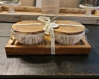 Rae Dunn PINCH DASH Seasoning Prep Bowls w/ Wooden Lids & Tray *New