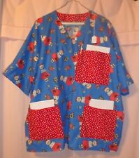 Girl & Scotty Dog on Blue Scrubs Top with 3 Red Pockets for Size 3X  FSMTP52