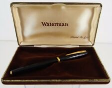 STYLO A PLUME WATERMAN NOIR PLAQUE OR POINTE OR DANS ETUI MARRON VINTAGE C603