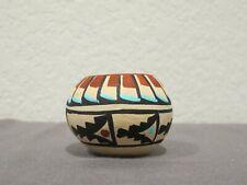 Native American Jemez Miniature Clay Pottery Seed Pot - Signed Chinana