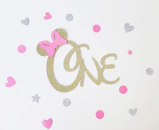 Minnie Mouse ONE Pink Gold Glitter Card Cake Topper Birthday Girl Party