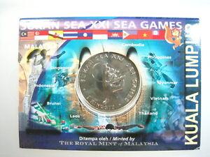 MALAYSIA $1 RINGGIT 2001 GEM BU SEA XXI GAMES DOLLAR 50# WORLD MONEY COIN