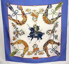 Hermès Scarf Foulard Carré Vintage SAMOURAÏ bleu Zoé Pauwels 1991