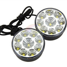 2X DRL 9-LED Bright Round Daytime Driving Running Light Car Fog Head Lights Lamp