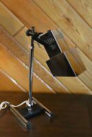 Stunning VTG Mid Century Modern MCM Desk Lamp Light Square Chrome Shade Tested