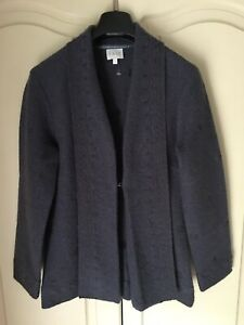 EAST Grey 100% Boiled Wool Cardigan Size Small VGC