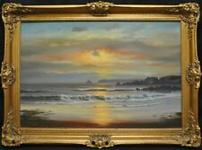 More details for arnold beardsley (b.1915) large sunset at the beach seascape oil painting