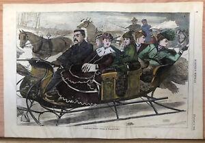 ORIGINAL 1869 HARPER'S WEEKLY HAND COLORED WINSLOW HOMER CHRISTMAS PRINT