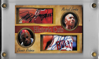 Michael Jordan Dennis Rodman Historic Cuts Facsimile Autograph Card