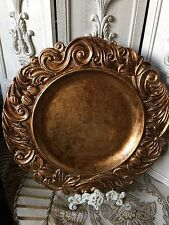 """NWT GORGEOUS Set of 4 Baroque Round Charger Plates ANTIQUED GOLD 14"""" More Styles"""