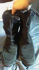 Skch+3 by Sketchers Womens 8 black leather boots w fur GUC
