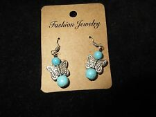 NWT Dangle Statement Earrings Silver Tone Stud Butterfly Turquoise Bead Fashion