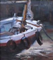 Charming Barrie Bray Original Oil Painting Of A Fishing Boat (Cornish Art)