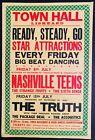 NASHVILLE TEENS & THE TRUTH Town Hall, Liskeard UK 1966 CONCERT POSTER RARE!