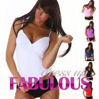 New Women's Diamante Zip Top V-Neck Sleeveless Stretch Shirt Size 6 8 10 XS S M