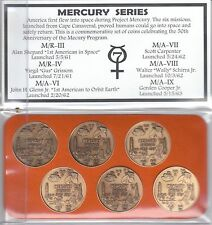 "NASA Project Mercury 50th Series Antique 1.5""Bronze Minted (6) Commemorative Set"