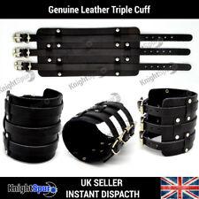 Genuine Leather Triple Cuff Wide Bracelet Rock Punk Rocker Surf Unisex Gothic
