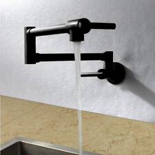 Wall Mount Brass Mixer Water Kitchen Sink Faucet Folding Swivel Spout Tap Black