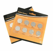 (2x) -8 Assorted BUTTON BATTERY Cell Lithium Coin CR2032 CR2025 CR2016 Batteries