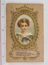 1870s-1880s Lovely Young Child Curly Hair Religious Quote F55