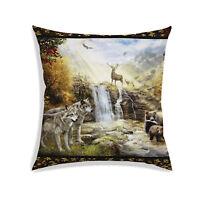 Wild Life Digital Print Satin Fabric Decor Square Throw Sofa Couch Pillow Case
