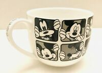 Disney Theme Parks Mickey And Goofy Black & White 20oz Coffee Tea Mug Cup