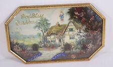Convex Framed God Bless Our Home Cottage 11x18 Religious Vtg Habitat Art Picture