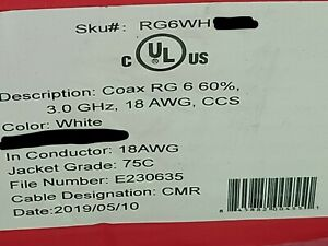 Unified Copper RG6 3GHz CCS Coaxial Satellite Video Cable RG-6 CMR White /100ft