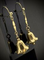 EDWARDIAN EARRINGS GOLD GILT PIERCED DANGLING FLOWERS ENCHANTING CIRCA1900