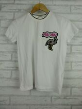 Miu Miu T-shirt White Sequins Flamingo embroidered trim Sz S