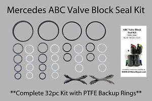 Mercedes ABC Valve Block PTFE seal Rebuild Reseal Kit  ***COMPLETE KIT 32pcs***