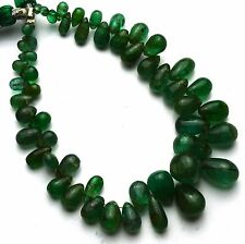 Natural Gem Super Quality Emerald Smooth Drop Shape Briolettes 3x5 to 8x10MM 6""