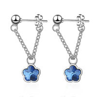 Women's 925 Sterling Silver Natural Crystal Flower Stud Hoop Dangle Earrings