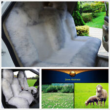 3Pcs Long Wool Genuine Sheepskin Car Front Back Seat Cover Cushions Winter Warm