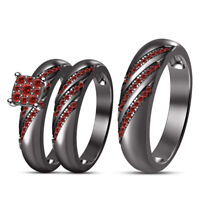 1.2Ct Round Cut Red Garnet His & Her Trio Wedding Ring Set 14k Black Gold Over