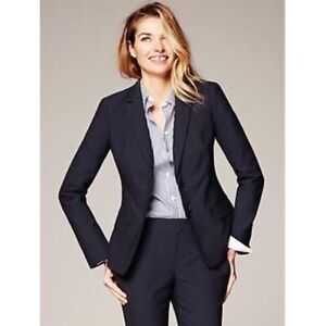 New Banana Republic S 6 Navy Blue light weight Wool Suiting Blazer jacket Chic