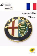 2pcs Logo Emblème Insigne Alfa Romeo Métal Or Stickers Capot Coffre 74mm FR