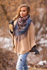 Authentic Russian Pawlowo-Posad, Pavlovo Posad Scarf Shawl 100% Wool 89x89cm